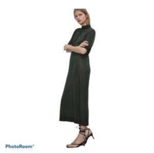 Zara Bottle Green Knit Midi/Maxi Dress